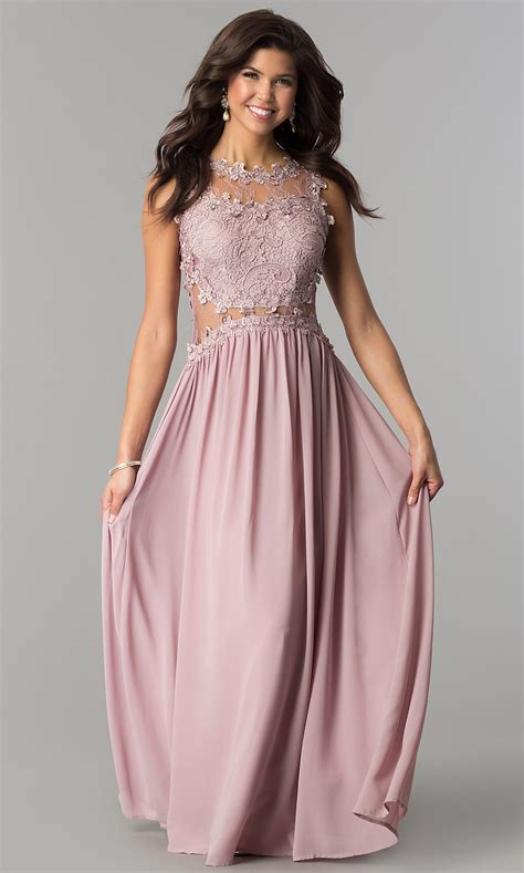 Lace-Applique-Bodice Long Cheap Prom Dress - PromGirl