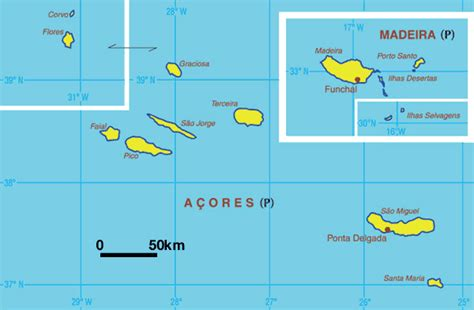 Map of Azores and Madeira Portugal
