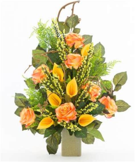 mazzi di fiori finti mazzo di fiori artificiali per loculo con salmone e