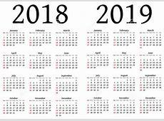 2018 and 2019 Printable Calendar Printable Download