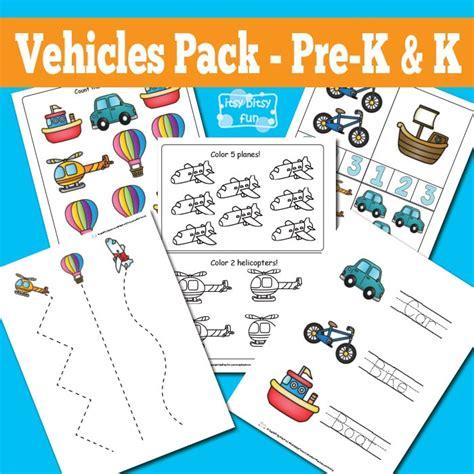 vehicles printable preschool and kindergarten pack itsy 493 | Vehicles Printable Worksheets for Kindergarten and Preschool