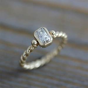 moissanite engagement ring a diamond alternative in recycled With diamond alternative wedding rings