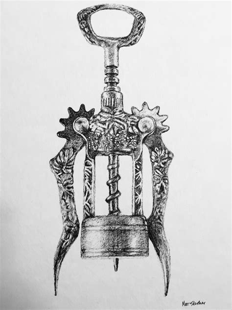 Old fashioned wine corkscrew drawing. Pen and ink on watercolor paper.   COCKTaILS & oTher