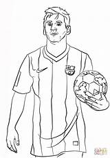 Coloring Messi Lionel Football Printable Soccer sketch template