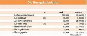 Listenpreis Berechnen Formel : bezugskalkulation bezugspreis berechnen bungen beispiel lernen ~ Themetempest.com Abrechnung