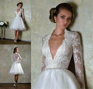 2014 new short custom size bridal gown v neck lace long With long sleeve short wedding dresses