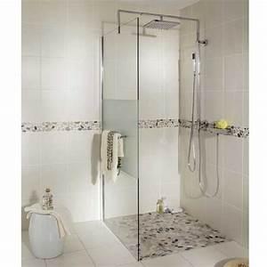 Paroi de douche influence droite verre serigraphie for Porte de douche coulissante avec lapeyre salle de bain carrelage