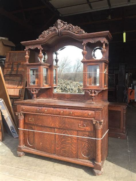 Antique Oak Sideboard Buffet With Mirror by Antique Oak Sideboard Beveled Mirrors Beveled Glass