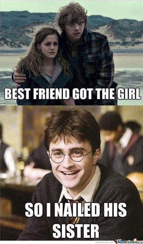 Meme Harry Potter - harry potter bangs rons sister by leatherbut meme center