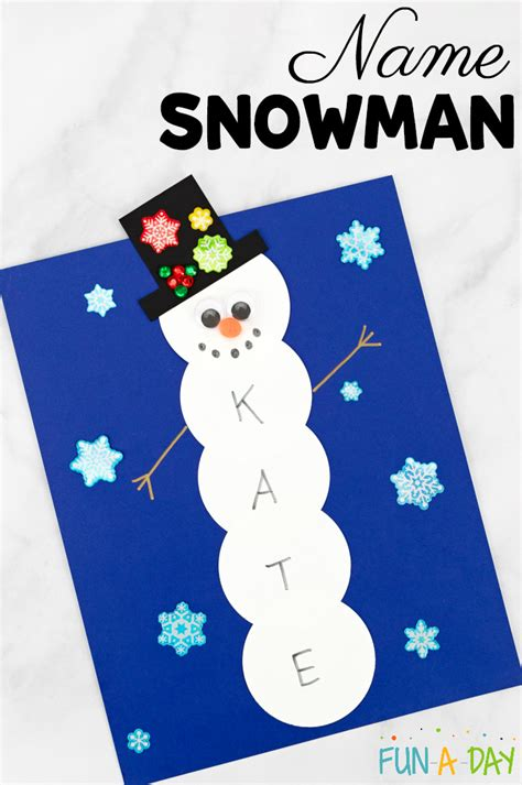 name snowman preschool craft and free printable 728 | How to make a name snowman craft in preschool