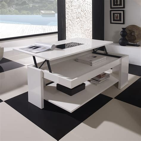 canape cuir alinea table basse ronde relevable