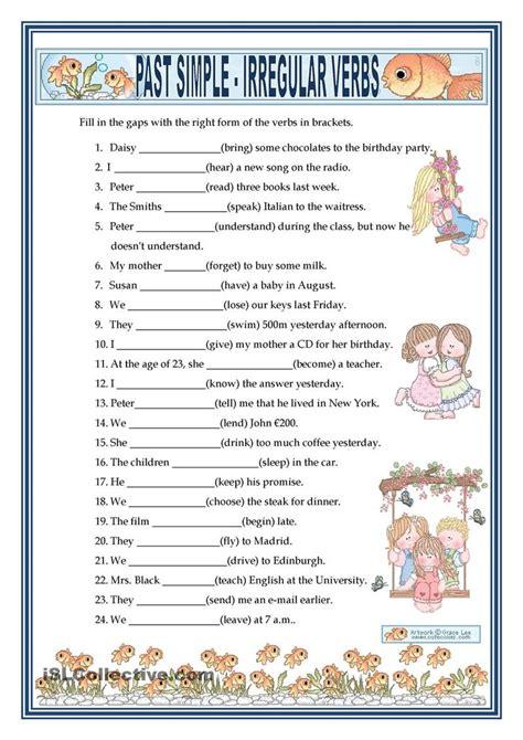 past simple irregular verbs free esl worksheets english kids pinterest esl irregular