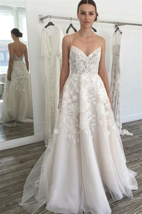 A-line Ivory Spaghetti Straps Backless Tulle Lace Beach ...