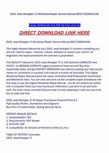 2001 Jeep Wrangler Tj Workshop Repair Service Manual Best Download By Yfg Qualityservicemanual
