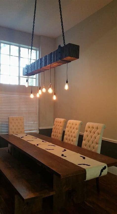 rustic industrial wood beam chandelier id lights