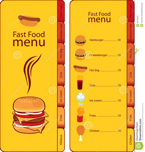 How To Make Fast Food Sound On A Resume by Fast Food Menu Royalty Free Stock Image Image 28743276