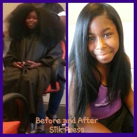 Natural Hair Silk Press   African American hair