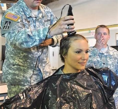 women entering  military    haircuts