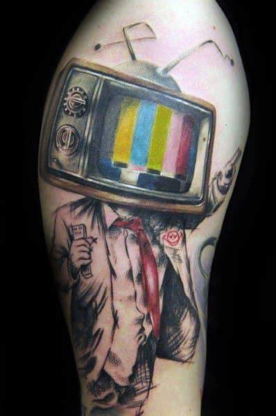 tv tattoos  men television set design ideas