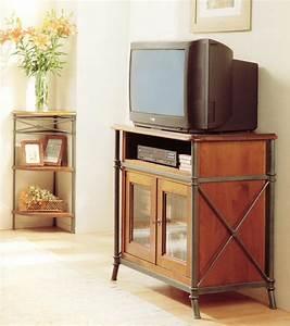meuble tv vido en bois et fer forg alki With meuble bois fer forge