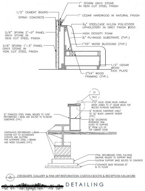 section detailing  custom reception millwork autocad