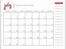2018 July Calendar Printable Monthly Template