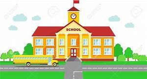 Bus clipart school building - Pencil and in color bus ...
