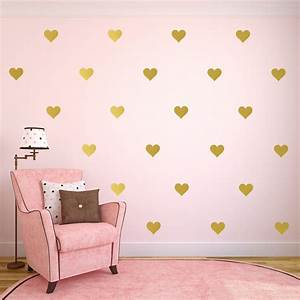 1piece gold heart butterfly stars wall decals gold polka With cute gold heart wall decals