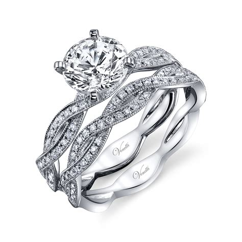 venetti infinity twist diamond wedding set  white gold