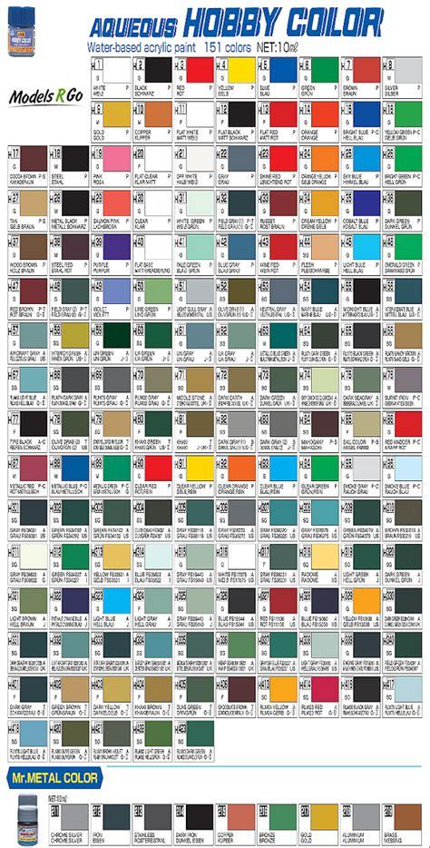mr color paint chart paint color ideas