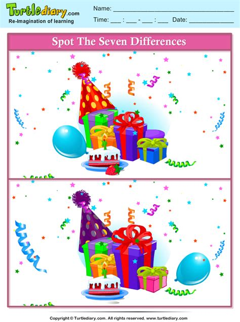 spot  differences party gifts worksheet turtle diary