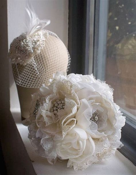 Fabric Bridal Bouquet Great Gatsby Weddings 1920s