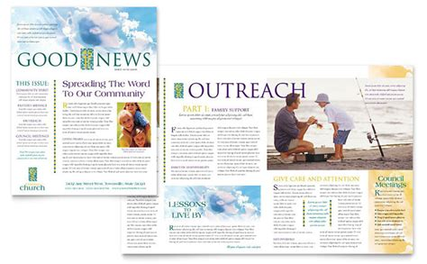 christian church newsletter template design