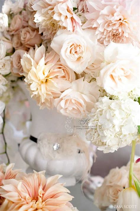 blush colored flowers chanel inspired wedding tabletop featured in ceremony