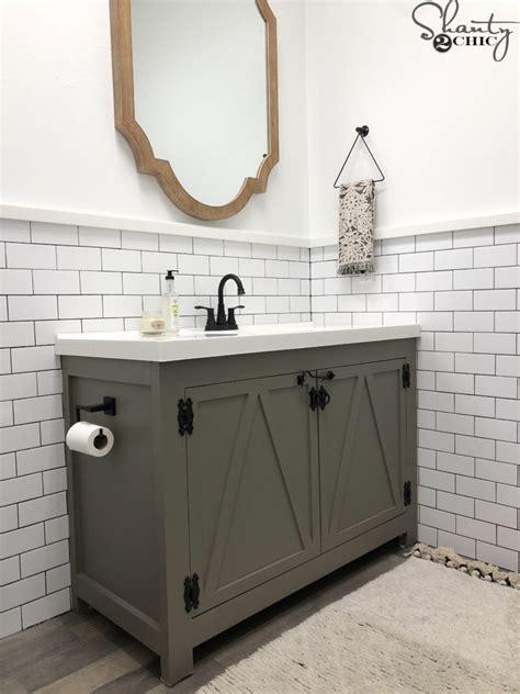 Farm Sink Bathroom Vanity by Diy Modern Farmhouse Bathroom Vanity Shanty 2 Chic