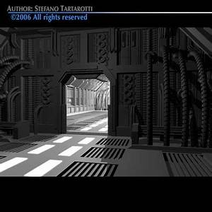 3ds max science-fiction corridor doors