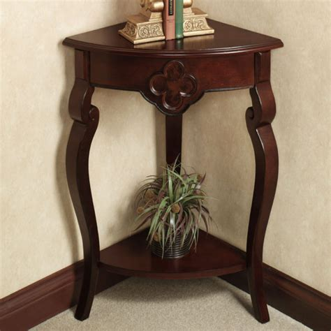 Furniture. Wood Corner Console Table With Cabinet. Pretty