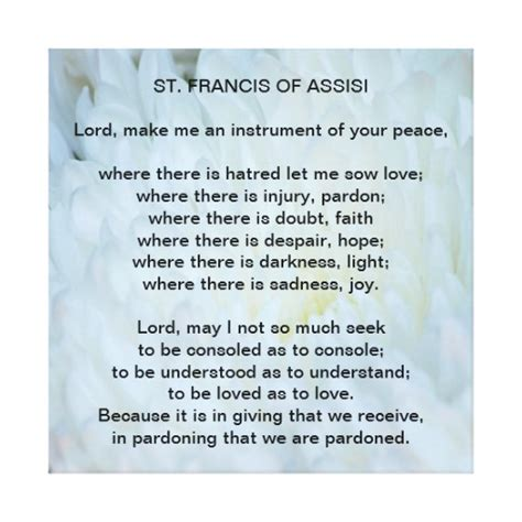 prayer of francis of assisi st francis of assisi prayer zazzle