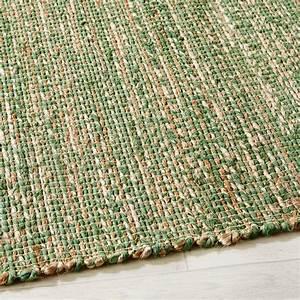 Tapis En Coton : tapis tress en jute et coton vert 140x200 malio maisons ~ Nature-et-papiers.com Idées de Décoration