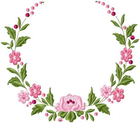 floral circle border machine embroidery design bling sass sparkle
