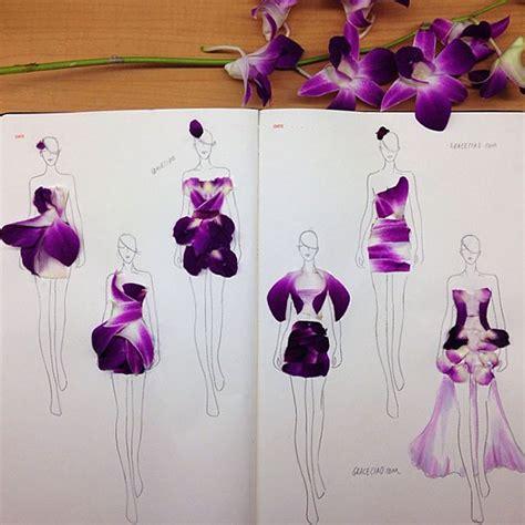 creative fashion design sketches  real flower petals