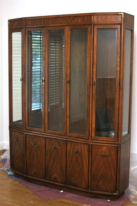 Drexel China Hutch - vintage drexel mid century solid pecan hutch china