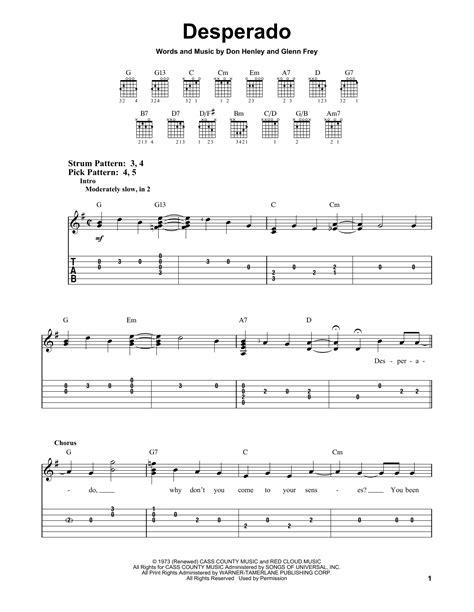 eagles desperado easy guitar tab sheetmusicdirect