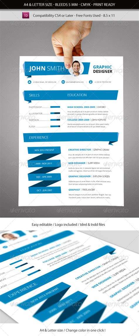 indesign resume template a4 letter size by franceschi rene graphicriver