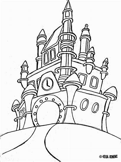 Castle Disney Coloring Pages Walt Disneyland Drawing