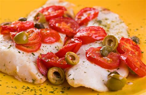 oven baked fish  tomatoes  olives recipe goodtoknow