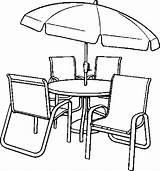 Coloring Table Chairs Chair Dining Umbrella Drawing Clipart Clip Printable Getdrawings Furniture Getcolorings Colo Library Popular sketch template