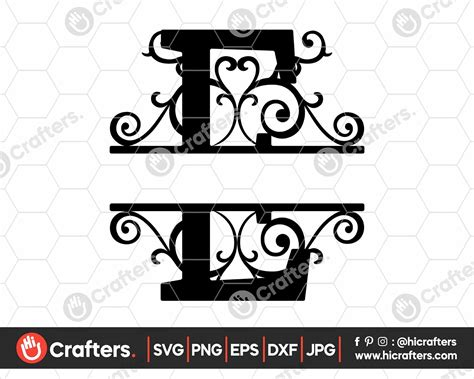 split monogram  svg split letter  svg  crafters