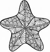 Coloring Pages Starfish Printable Colouring Adult Zentangle Animal sketch template