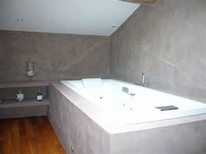 Beton Cire Deco : parquet acajou mur beton cire plafond blanc d co ~ Premium-room.com Idées de Décoration